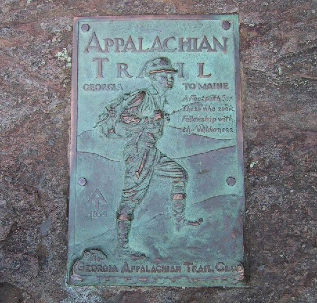 Schild am Ende des Appalachian Trail