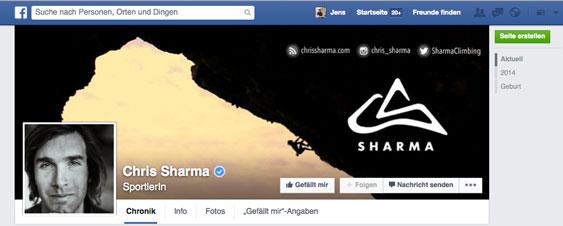 Sharmaclimbing auf Facebook