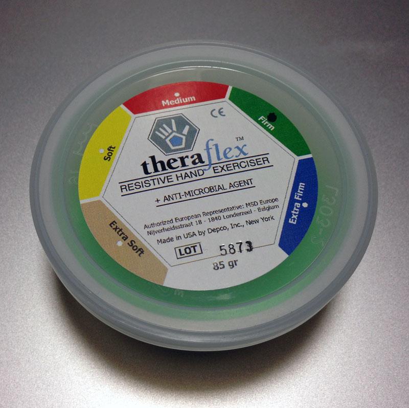 Grüne Theraflex Therapieknete in Dose