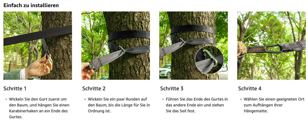 Die Hängemattenaufhängung von Unigear ist günstig und beinhaltet neben den Gurten auch zwei Karabiner für die Befestigung (Foto: Amazon).