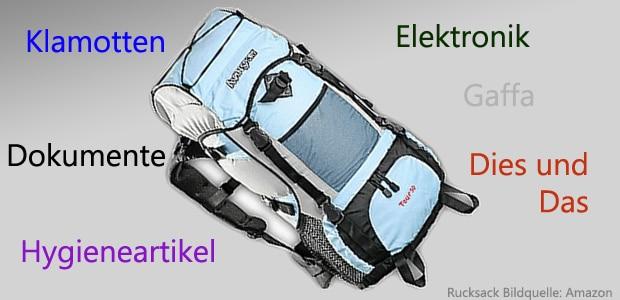Weltreise mit Rucksack Packliste